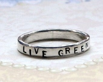 Personalized Hand Stamped Sterling Silver Thin 3mm Band Ring - Live Green Band Ring - Personalized Ring