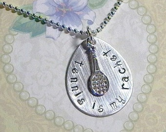 Tennis Necklace, Tennis is my Racket Hand Stamped Sterling Silver Necklace, Silver Tennis Racket Necklace, Tennis Jewelry