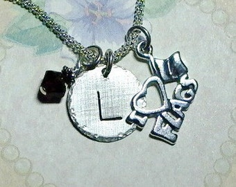 I love Flags Hand Stamped Sterling Silver Initial Charm Necklace - Color Guard Necklace - Personalized I love Flags Necklace