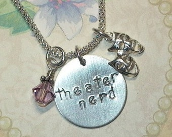 Theater Nerd Necklace - Theater Nerd Hand Stamped Sterling Silver Charm Necklace - Drama Mask Jewelry - Drama Necklace