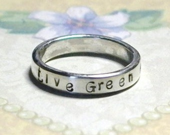 Sterling Silver Hand Stamped Personalized Band Ring - 4mm Wide - 2mm Thick
