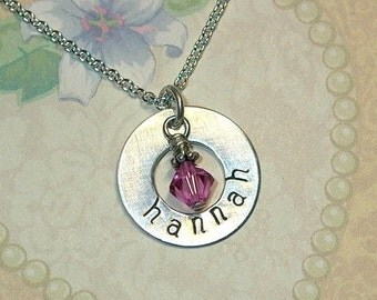 Personalized Name Necklace Hand Stamped Sterling Silver Washer Necklace with Birthstone - Name Jewelry