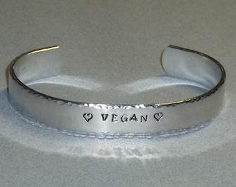 Vegan Love Hand Stamped Aluminum Cuff Bracelet - Vegan Cuff Bracelet - Vegan Jewelry