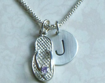 June Birthstone Flip Flop Hand Stamped Sterling Silver Initial Charm Necklace, Flip Flop Necklace, Flip Flop Jewelry