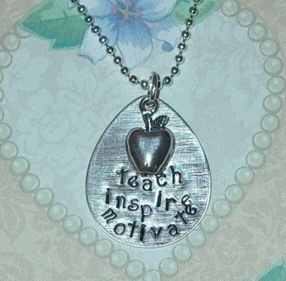 Teacher Necklace, Teach Inspire Motivate Hand Stamped Sterling Silver Charm Necklace with Apple