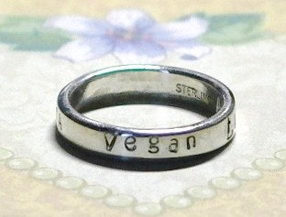 Vegan Argentium Sterling Silver Hand Stamped Ring