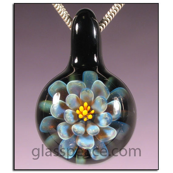 SALE - Glass Flower Pendant - Lampwork Bead Necklace Focal - Hand Blown Glass Jewelry (3920)
