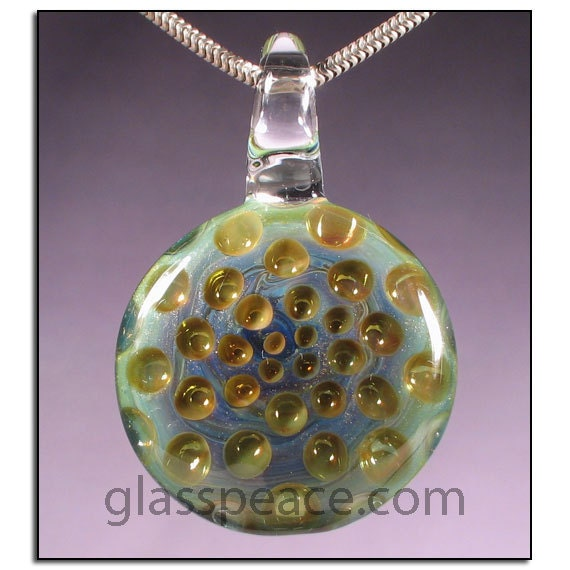 SALE - Sparkling Green and Gold Glass Honeycomb Pendant - Boro Lampwork Focal Bead - Hand Blown Glass Jewelry (4119)