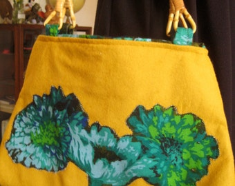 Gold flowers felt handbag