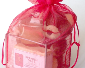 Birthday Gift, Ridal Shower gift, Red Organza Gift with Shea Butter Natural Soap,Gift Ideas for Teens, Stocking Stuffers