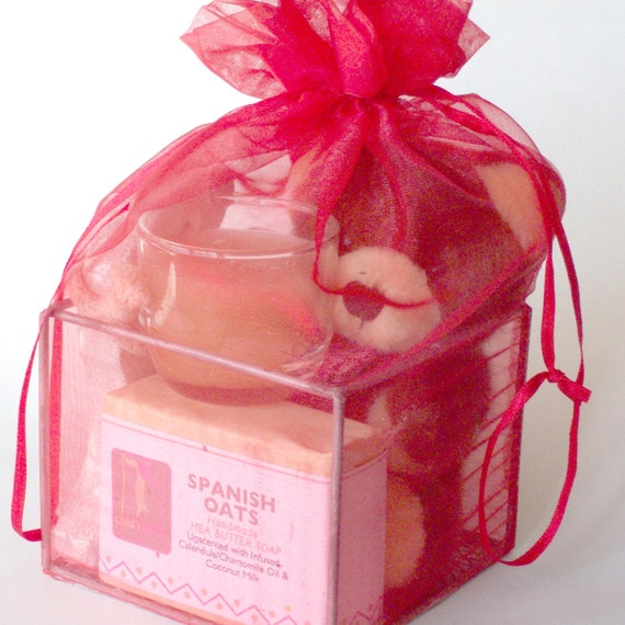 Valentines Day Gift, Red Organza Gift with Shea Butter Natural Soap,Gift Ideas for Teens, Stocking Stuffers