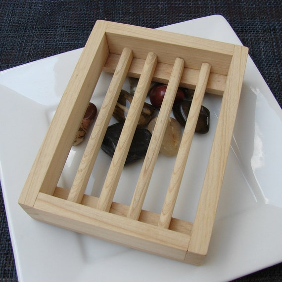 Upcycled Wooden Soap Dish - Cypress Wood, Handcrafted Draining Dishes Slotted Unfinished Go Green