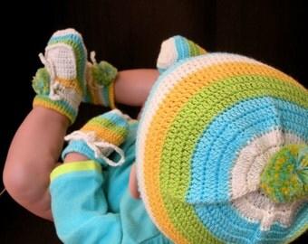 Sebastian The Crocodile Organic Cotton - 3 pieces Crochet Accessories Set