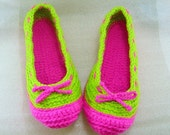 Ladies Crochet Indoor Shoes Size 7 to 9 (Hot Pink and Apple Green)