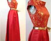 LUCKY RED Vintage 60s Asian Silk Brocade Gown M