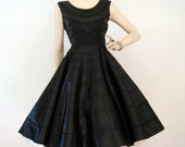 50s Dress Vintage Black Satin Circle Skirt Cocktail Party Dress M