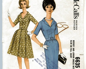 50s 60s Pattern Vintage Slim or Full Skirt Day Dress McCalls 6635 36B