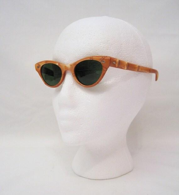 50s Sunglasses Vintage Catseye Bamboo Frame Sun glasses NOS