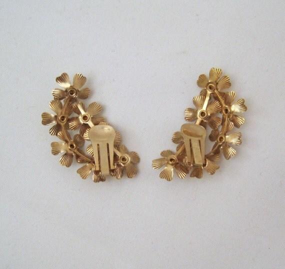 50s Earrings Spring Floral Cluster Rhinestone Flowers