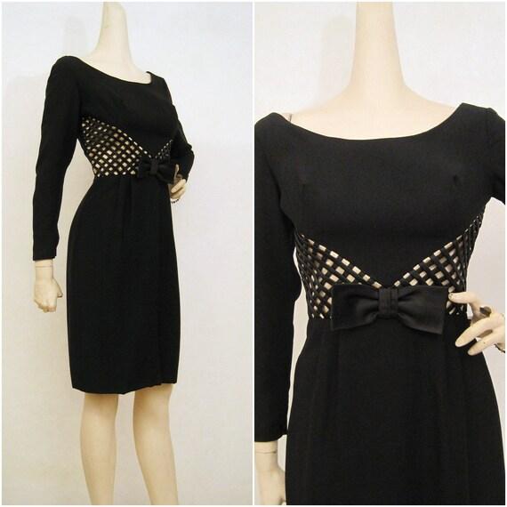 50s 60s Dress Vintage Illusion Waistline Cocktail Party Dress S M