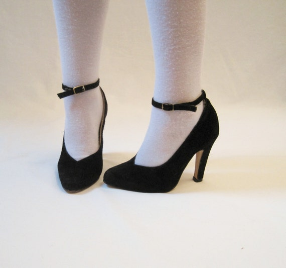 70s 80s Shoes Vintage Suede HIGH Heels Pumps with Ankle Straps 5