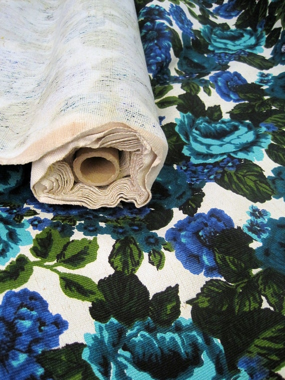 60s Fabric Vintage Floral Upholstery Fabric Cotton By