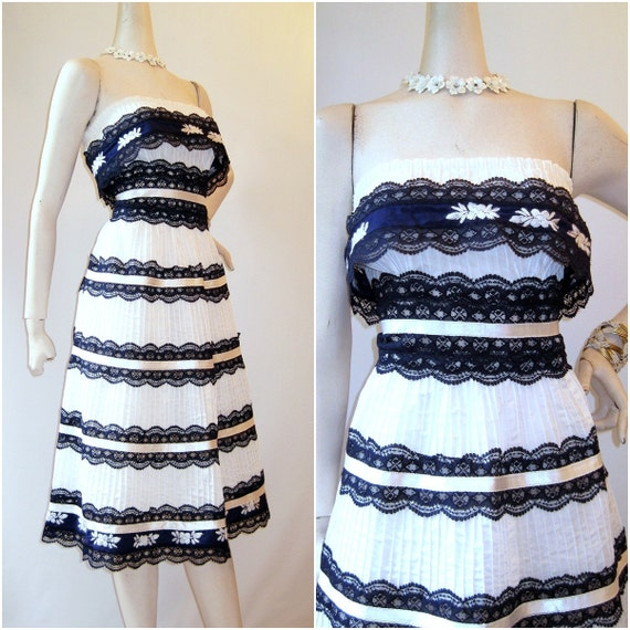 Vintage Mexican Sun Dress Strapless Lace Cotton Fiesta  M