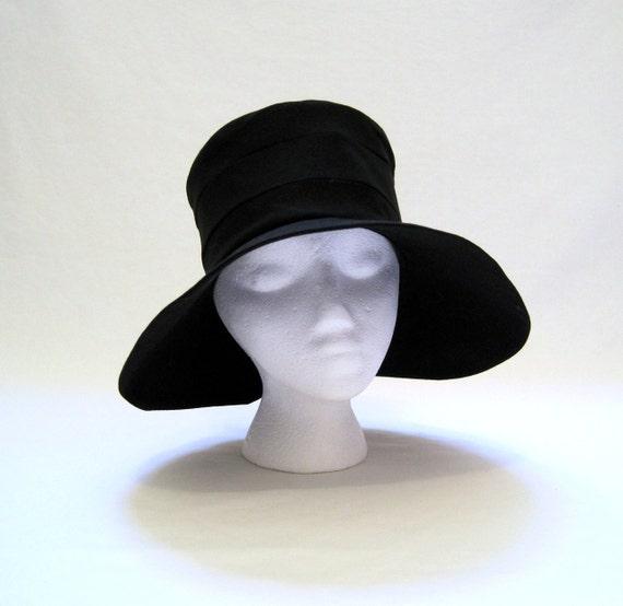 60s Hat Vintage Dior-esque Black Linen Summer Wide Brim