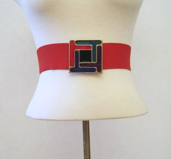80s Belt Vintage Enameled Buckle Mondrian Color Block M L