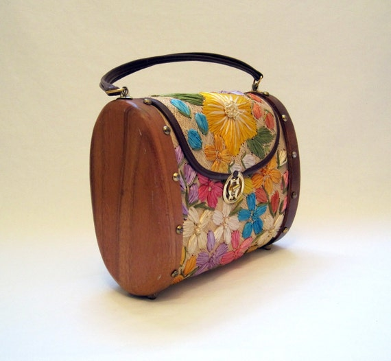 Vintage 60s Purse Embroidered Straw and Wood Large Handbag
