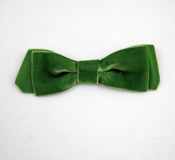 60s Hair Bow Vintage Large MOD Green Velvet Ribbon Hair Clip
