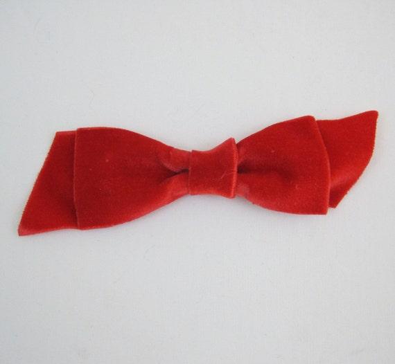 60s Hair Bow Vintage Large MOD Red Velvet Ribbon Hair Clip