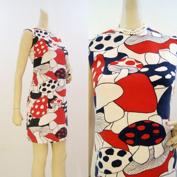 60s Dress Vintage MOD Magical Mushroom Novelty Print Mini Shift S M