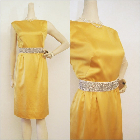 60s Dress Vintage 60s Golden Yellow Satin Cocktail Sheath Wiggle S M