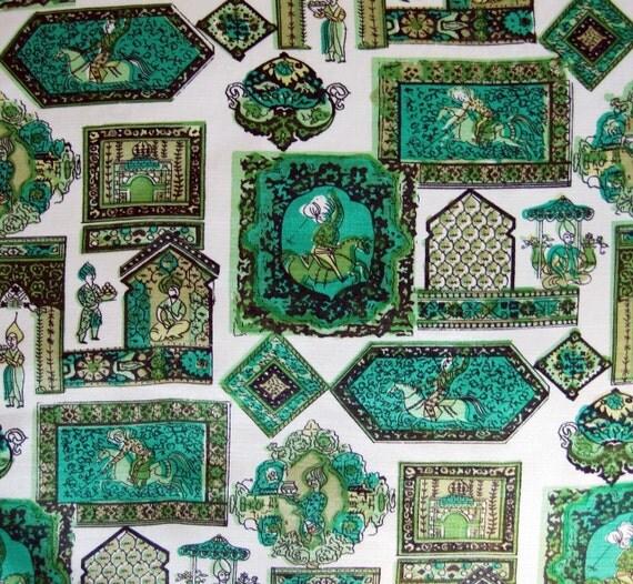 Novelty Print Fabric 60s Vintage Mid Century Arab Theme 2.5 yards