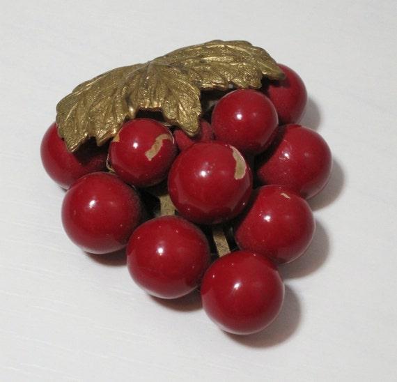 Vintage Dress Clip 30s 40s Art Deco Red Grape Cluster