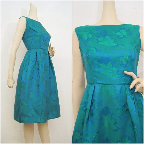50s 60s Dress Vintage Green Blue Brocade Full Skirt Party Dress Bolero S