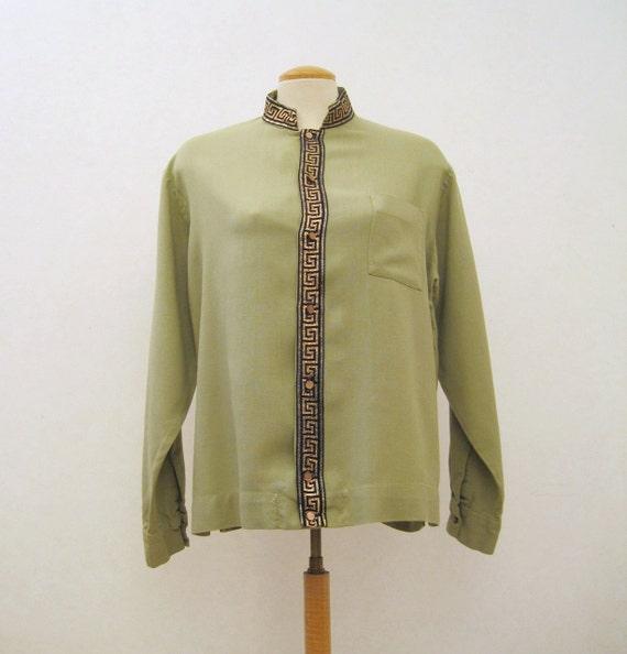 60s Shirt Vintage Mens Lancer Nehru Collar Rayon Shirt M L