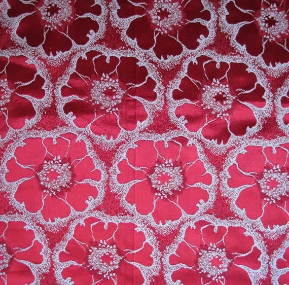 30s 40s Fabric Vintage Ruby Satin Damask Brocade Large Flower ...oh my