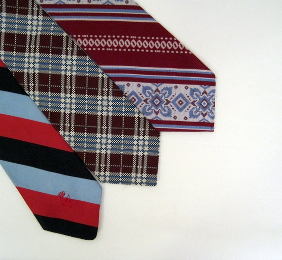 70s Ties Vintage Wide Mens Brocade Neckties lot of 3
