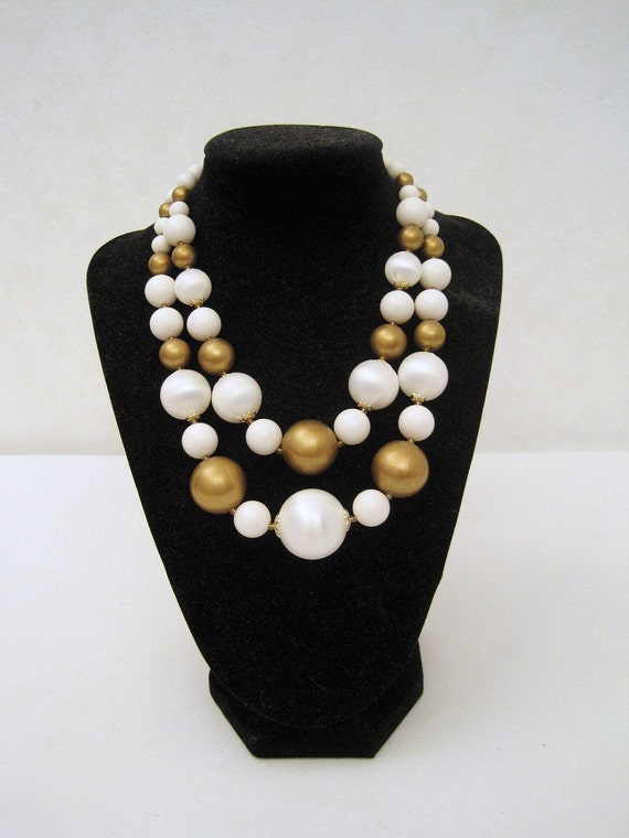 50s 60s Necklace Vintage 2 Strand Gold and White Graduated Beads