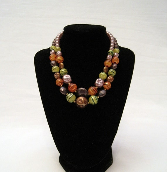 50s 60s Necklace 2 Strand Multicolor Vintage Graduated Beads