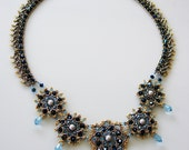 Metallic Blue Diamond Glam Beaded Necklace with Aqua Swarovski Teardrops