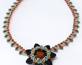 FIORE Swarovski Pendant and Beadwork Necklace Exclusively PDF Beading tutorial for personal use only