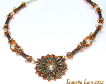 MIA SUNSHINE Swarovski Pendant and Beadwork Necklace Exclusively PDF Beading tutorial for personal use only