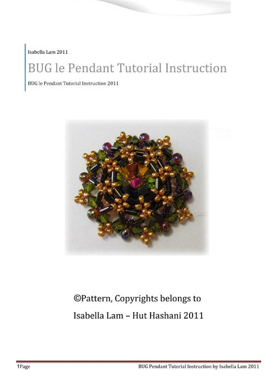BUG le pendant - Exclusively Pdf Beading Tutorial Instructions for personal use only