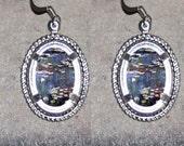 Waterlilies by Claude Monet Oval Frame Earrings