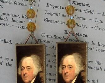 President JOHN ADAMS portrait beaded earrings