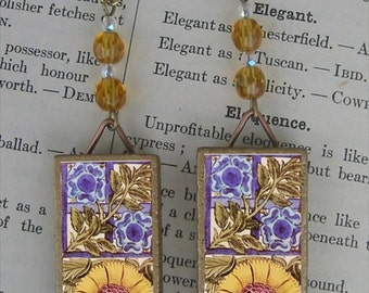 William Morris De Morgan tile Earrings