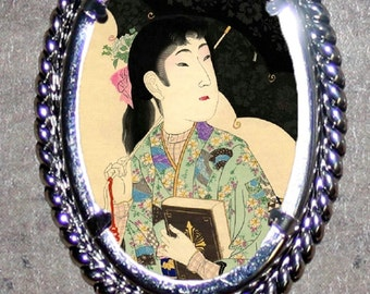 Victorian fashion Asian Beauty with Parasol Frame Pendant
